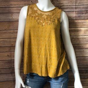 Lucky brand mustard yellow mesh neck tank top